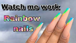 Simple Rainbow Nail Art Tutorial | How To Create | Nail Tech Life