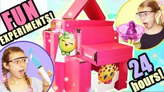 24 Hours STUCK In A Box Fort Mansion With a BLACK SNAKE!! | Huge PINK Box Fort with ELECTRICITY!