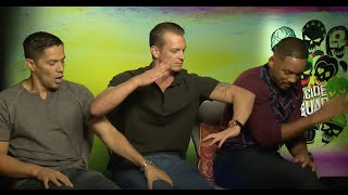 Horse bite!! Suicide Squad Interview Will Smith Jay Hernandez Joel Kinnaman