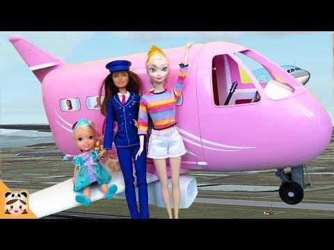 여행가자 아기 멀미했다? 엘사 엄마 아기 인형 바비 비행기 장난감 놀이 공주 주방 요리 놀이 Baby Doll Barbie Airplane Travel Car Toy   보라미TV