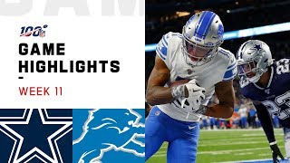 Cowboys vs. Lions Week 11 Highlights | NFL 2019