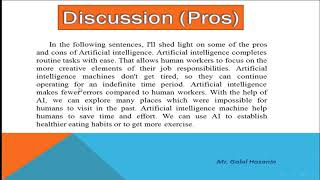 Paragraph about pros and cons of Artificial Intelligence براجراف عن الذكاء الصناعى