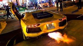 HOT: Phản ứng của người dân Sài Gòn khi siêu xe Lamborghini Aventador nẹt ra lửa dữ dội!
