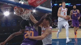 Kristaps Porzingis 6th Game Scoring 30 or More! TJ Warren Injury Suns vs Knicks 2017-18 Season