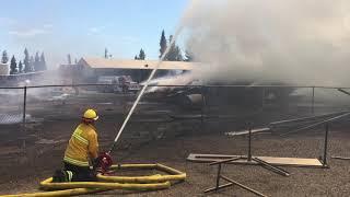 Firefighters battle blaze at Schellville pallet factory, June 5, 2018