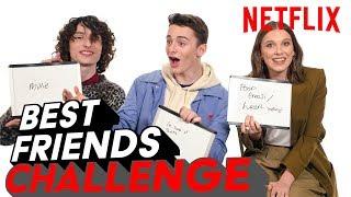 Stranger Things 3 Best Friends Challenge   Millie, Finn & Noah   Netflix