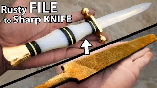 Turning a Rusty FILE into a really Pretty & SHARP KNIFE