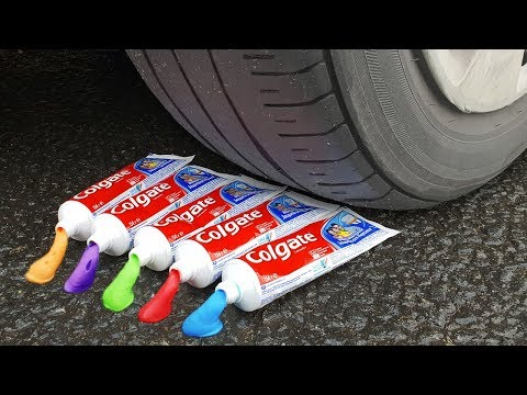 EXPERIMENT: CAR VS RAINBOW TOOTHPASTE