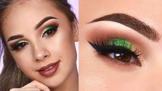 Brown Smokey Eye & Pop of Green   Makeup Tutorial