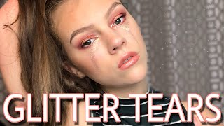LAST MINUTE HALLOWEEN MAKEUP | GLITTER TEARS