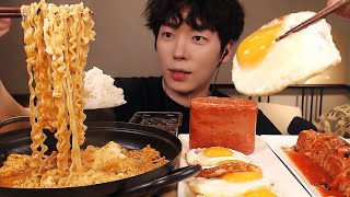 MUKBANG|집밥! 통 스팸,계란후라이,라면,흰밥,김치 먹방|KOREAN HOME FOOD EATING SOUNDS الأرز المنزل Nhà gạo [SIO ASMR 시오]