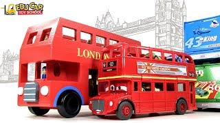 Learning Color Disney Cars Lightning McQueen Double decker Bus Play for kids car toys