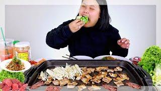 KOREAN BBQ + PORK BELLY WRAPS MUKBANG 먹방 (EATING SHOW!)