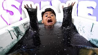 GOOEY BLACK SLIME BATH CHALLENGE!