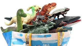 Jurassic World 50 Dinosaurs In Shopping Bag! Learn Dinosaurs Names With Action And Sound Fun Video