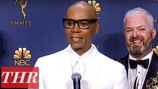 Cast & Crew of 'RuPaul's Drag Race': 2018 Emmy Awards Winners Backstage Interview | THR