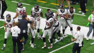 Mike Vrabel getting the Houston Texans linebackers fired up