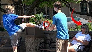 Awkward Trick Shots in Public with MoreJStu! | That's Amazing