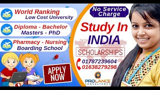 Study In India-Diploma-Bachelor-Masters-PhD - No Service Charge & Visa Fee
