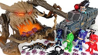 Terrible tree monster spitting out insect appeared! PJ Masks! Go go! - DuDuPopTOY