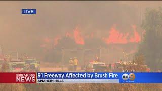 Brush Fire Shuts Down EB 91 Freeway