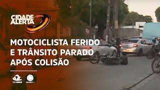 Motociclista ferido e trânsito parado após colisão