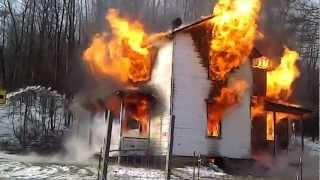 Old farm house burning