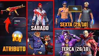 CODIGUIN INFINITO, PUNHO DE VOLTA, ARMA ATRIBUTADA, BERMUDA ANGELICAL - CALENDÁRIO SEMANAL FREE FIRE