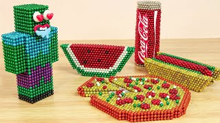 Compilation Asmr Eating : Mukbang Animation with Magnet Balls | Magnet Stop Motion Cooking