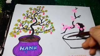 Cách vẽ hoa mai, hoa đào ngày tết/2 cách vẽ cây mai, cây đào dễ nhất mà đẹp nhất