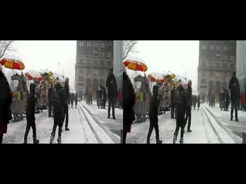 Snow Blower In Times Square During New York Blizzard (yt3d:enable=true)