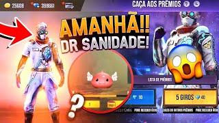 AMANHÃ!! NOVO EVENTO CAÇA AOS PRÊMIOS COM PACOTE DR SANIDADE, NOVO PET PORING E MAIS - FREE FIRE