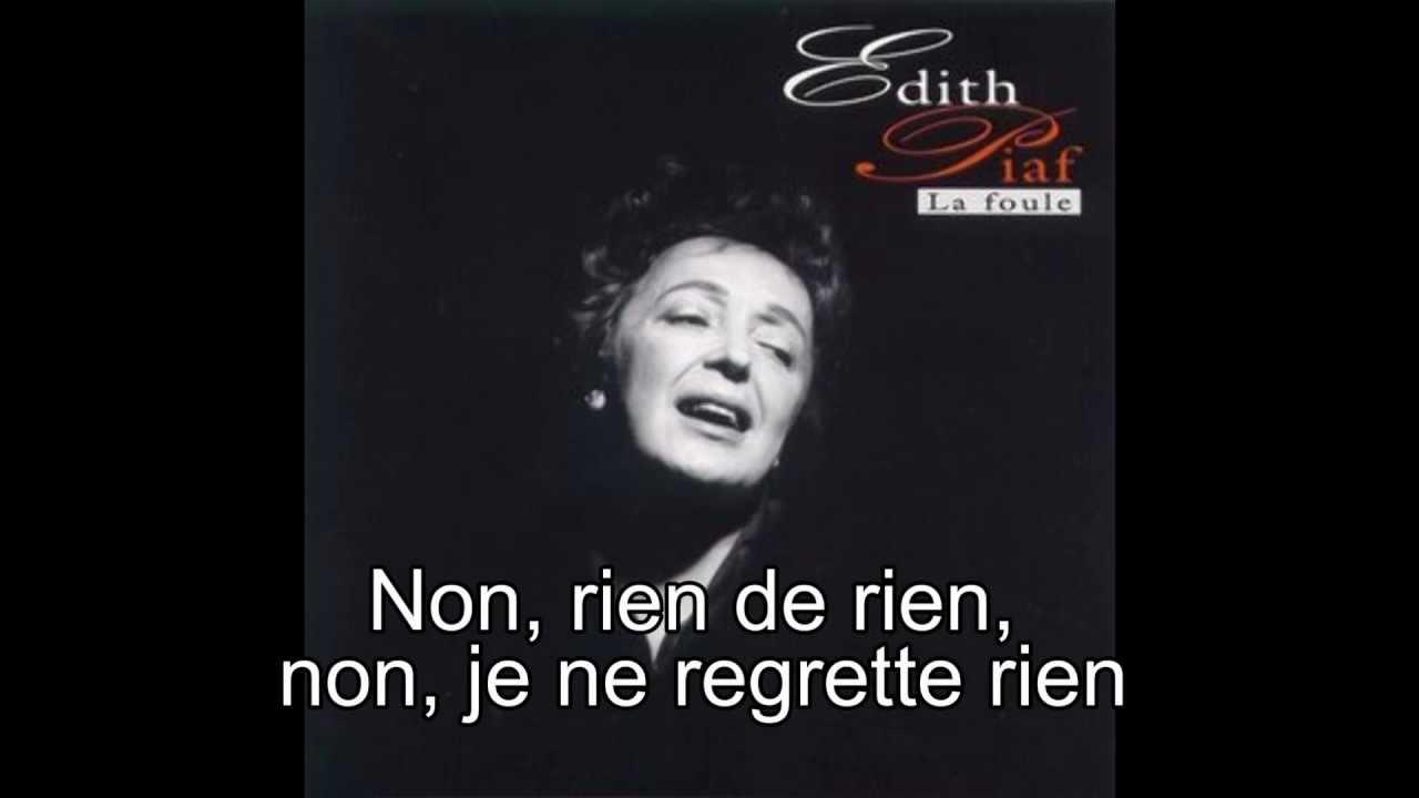Edith Piaf / Non je ne regrette rien (1961) *Lyrics* - YouTube  Edith