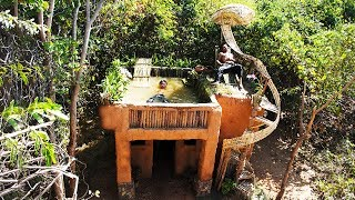Build mud house and swimming pool in the forest   Primitive Technology , Building Skill ( Full )