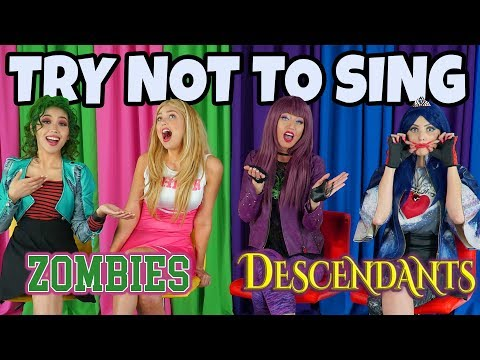 ZOMBIES VS DESCENDANTS TRY NOT TO SING ALONG DISNEY SONGS CHALLENGE (Totally TV Dress Up Characters)