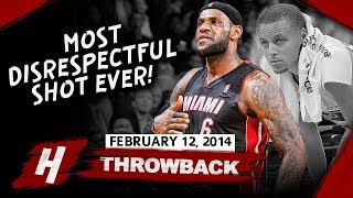 LeBron James MOST DISRESPECTFUL CLUTCH SHOT EVER vs Warriors 2014.02.12 - 36 Pts, Curry SHOCKED!