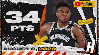 Giannis Antetokounmpo 34 Points 13 Reb Full Highlights | Bucks vs Mavericks | August 8, 2020