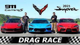 C8 Corvette vs 992 Carrera S vs 2021 Toyota Supra // DRAG RACE, ROLL RACE & LAP TIMES