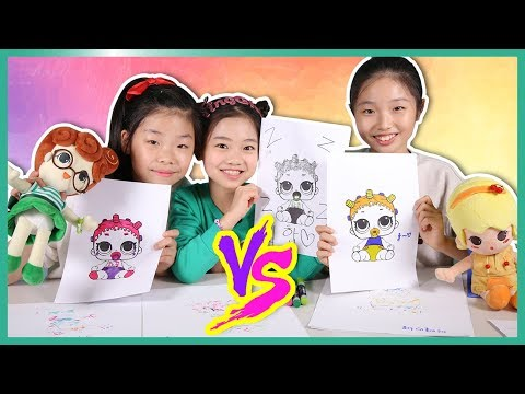 복불복 LOL 캐릭터 3가지 색 색칠하기 대결 ☆ 3 markers challenge 랜덤 색칠 도전 ☆ 팅글리와 나하은과 함께 하은이랑 팅글리랑