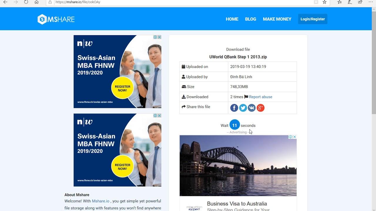 Instructions for downloading UWorld Step 1 + Step 2 + Step 3 (2010-2019) on  website mshare io