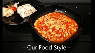 White Beans in Spicy Tomato Sauce. From The Turkish Kitchen. how do you make, recipe, simple, dish,