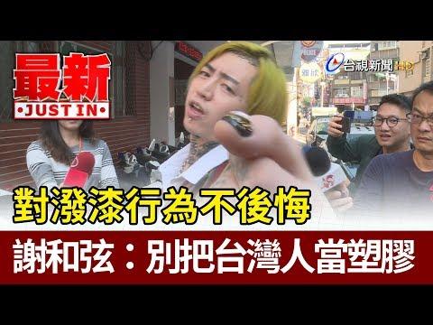 對潑漆行為不後悔  謝和弦:別把台灣人當塑膠【最新快訊】