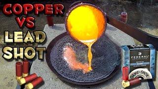 Molten Copper vs Lead Shot