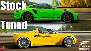Forza Horizon 4: Stock vs Tuned! Porsche 911 GT3RS vs Lotus Elise!