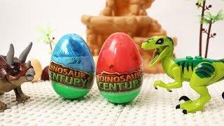 Dinosaurs Open the Surprise Egg!! Surprise Egg in Dinosaur Block Building Video