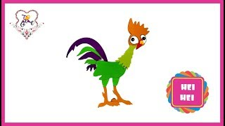 Learn Colors and How To Make Hei Hei Chicken(Character from Moana)