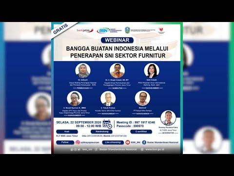https://youtu.be/b5s8VLqlK68Bangga Buatan Indonesia Melalui Penerapan SNI Sektor Furnitur