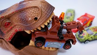 Dash car where the car jumps out from the mouth of a powerful dinosaur.