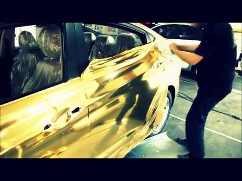 gold chrome wrap car