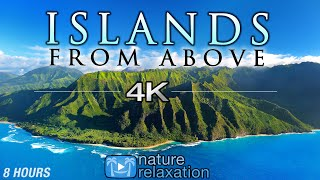 "8 HOUR DRONE FILM: ""Islands From Above"" 4K + Music by Nature Relaxation™ (Ambient AppleTV Style)"